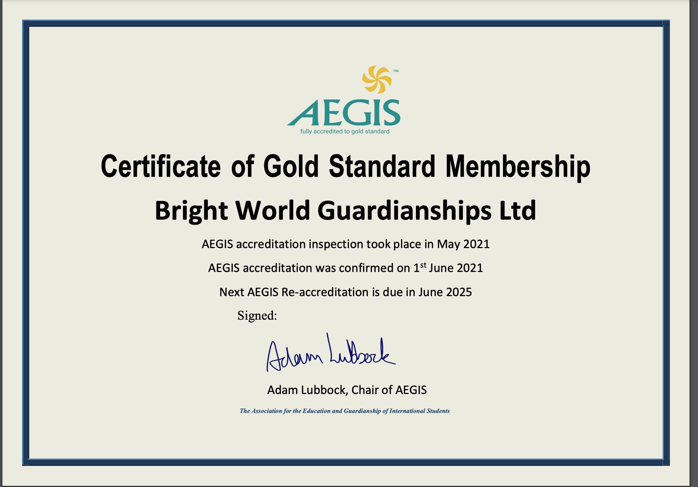 AEGIS re-accrediation certificate