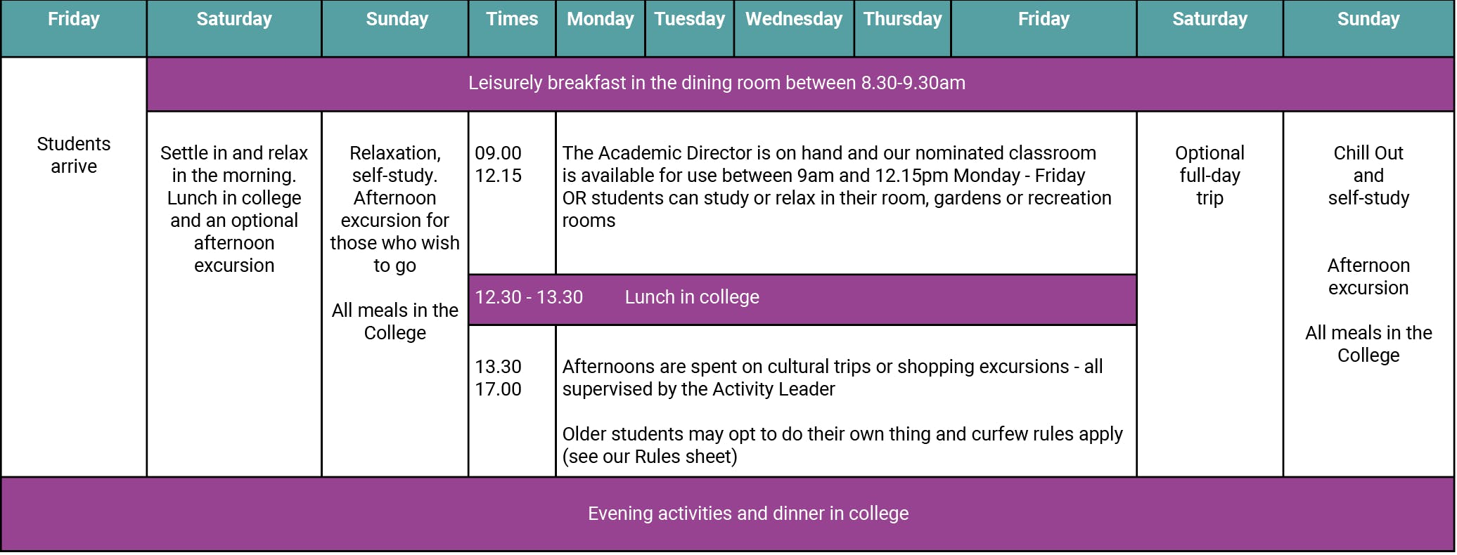 Sample relax and revise programme