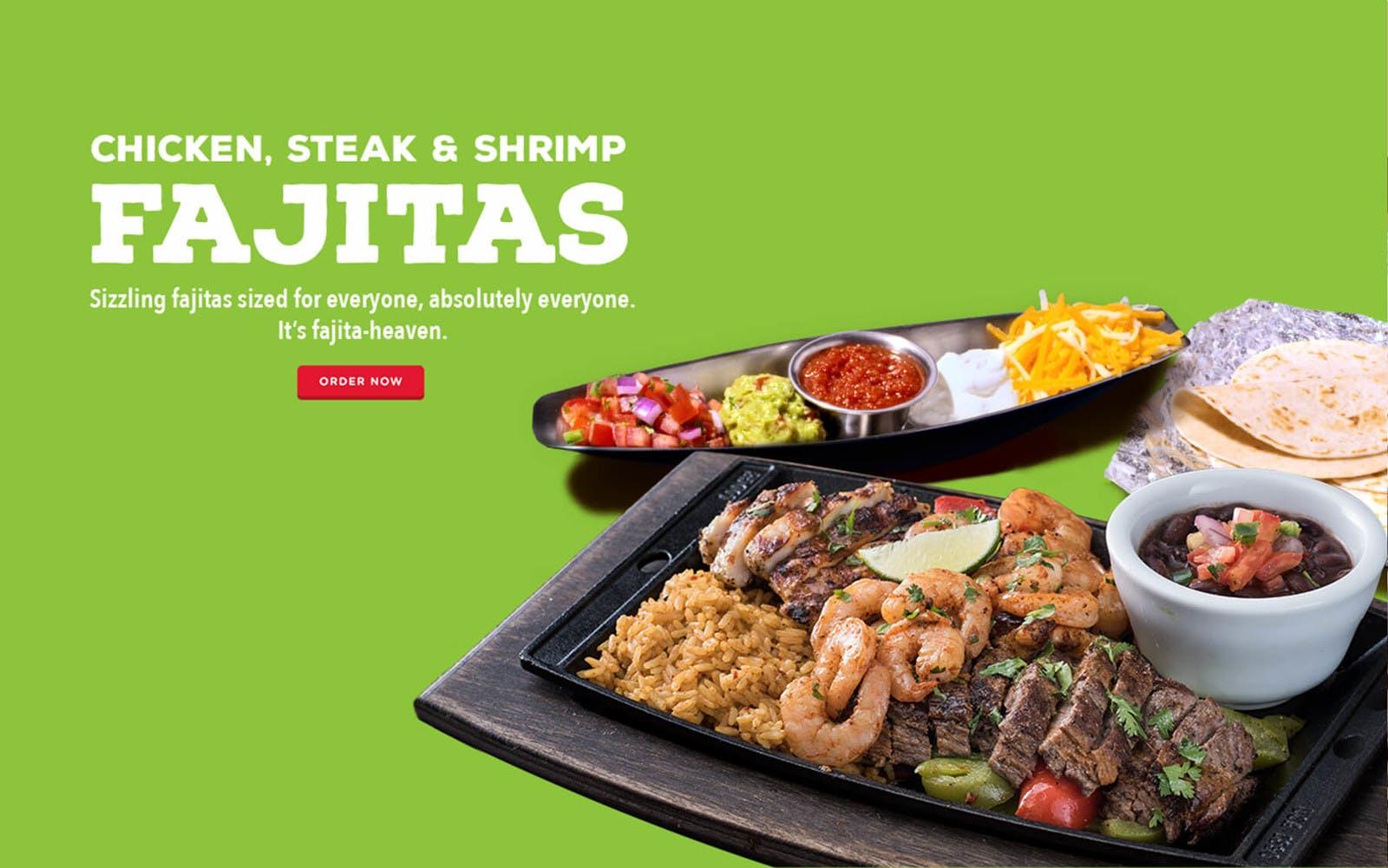 Chicken, Steak & Shrimp Fajitas - Sizzling fajitas for everyone at Chili's. It's fajita-heaven!.