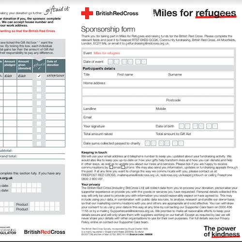 Snapshot for the Miles for Refugees sponsorship form