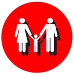 red circle with  a family reunited icon
