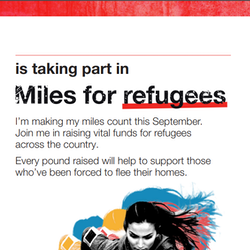Snap shot of the Miles for Refugee's poster that is attached to the download button