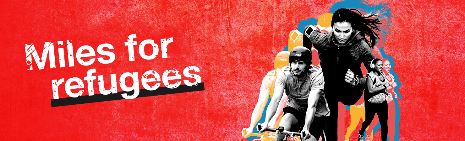 Miles for refugees fundraising page header banner