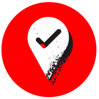 Red circle with a location symbol in white over the top