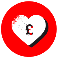 Red circle with a white heart and a pound symbol in white over the top