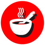 Red icon with a bowl of food
