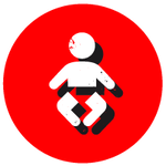 Red circle with a white baby icon