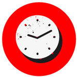 Red circle with a white clock symbol over the top