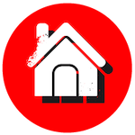 Red circle with a house icon