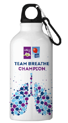 Image of Water bottom with Asthma UK and British Lung Foundation logos.  Text on the bottle reads, Team Breath Champion