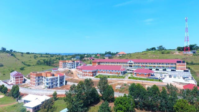 March 20 2021 aerial view of school campus