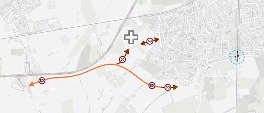 Variant 3 Nieuw tracé aansluiting 25 Wouwse Plantage - Thorbeckelaan