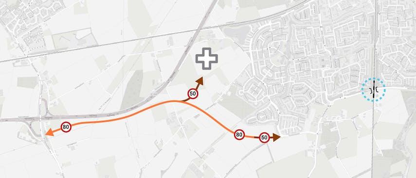 Variant 2 Nieuw tracé aansluiting 25 Wouwse Plantage - Thorbeckelaan
