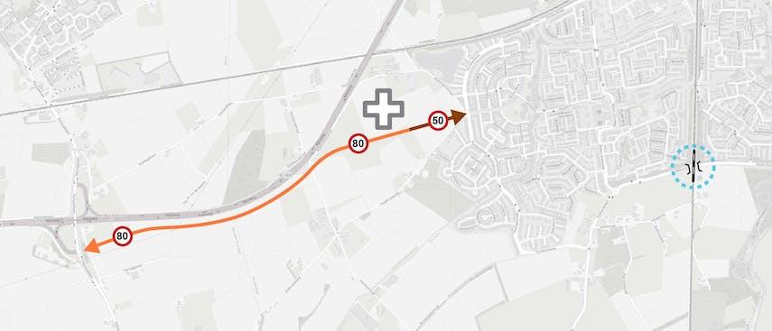 Variant 1 Nieuw tracé aansluiting 25 Wouwse Plantage - Thorbeckelaan