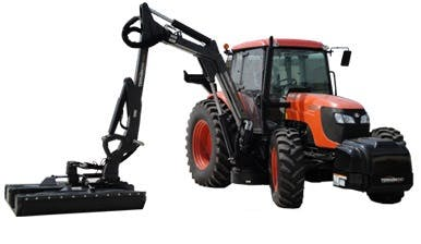Kubota M108 with 22' Rotary Boom Mower