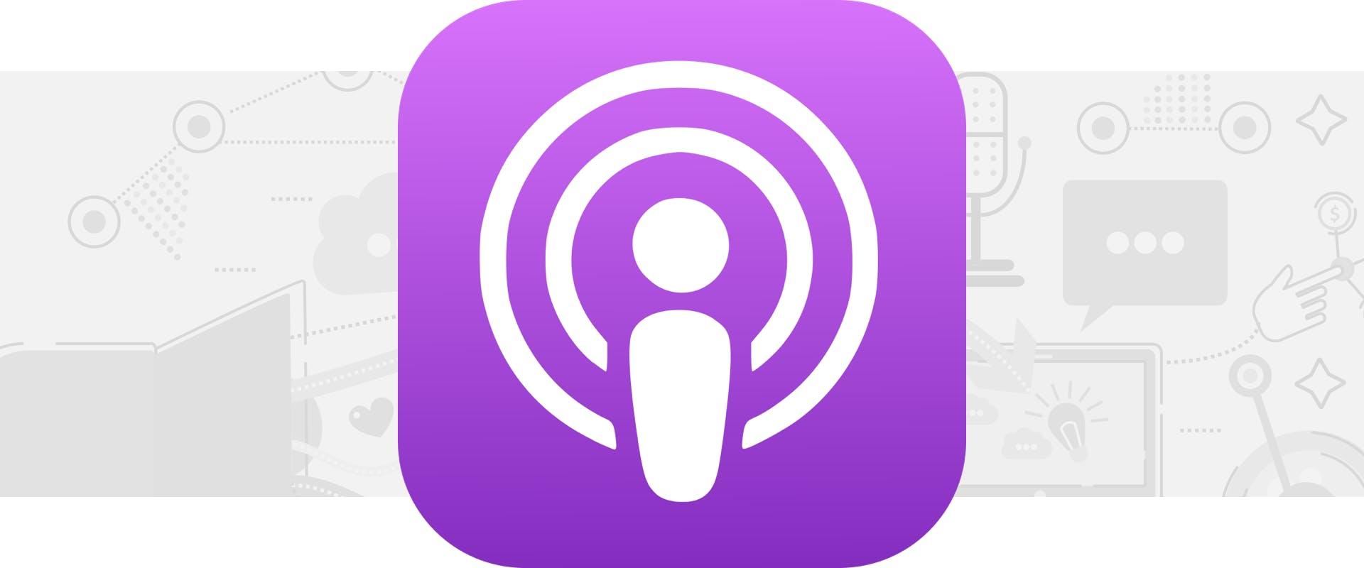 Apple Podcasts logo on gray background
