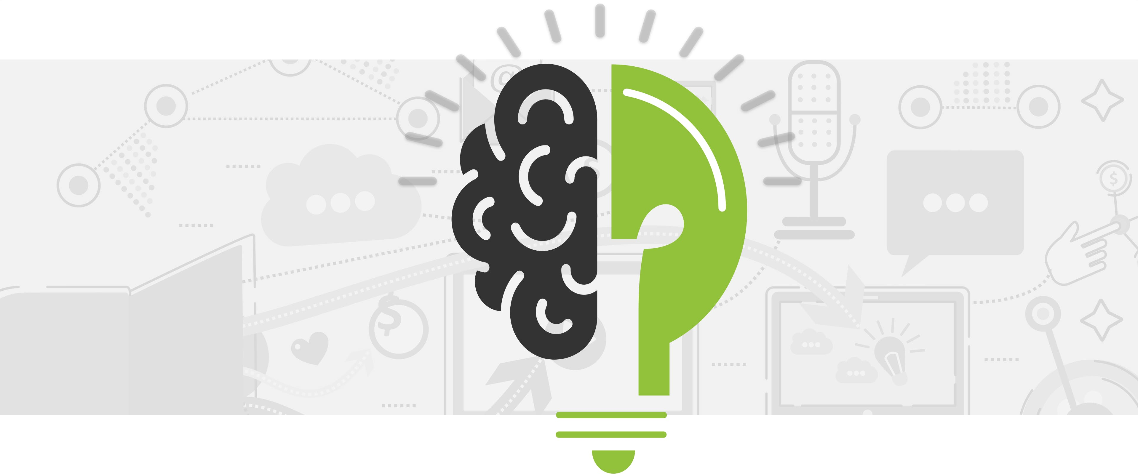 A green lightbulb with half of it as brain