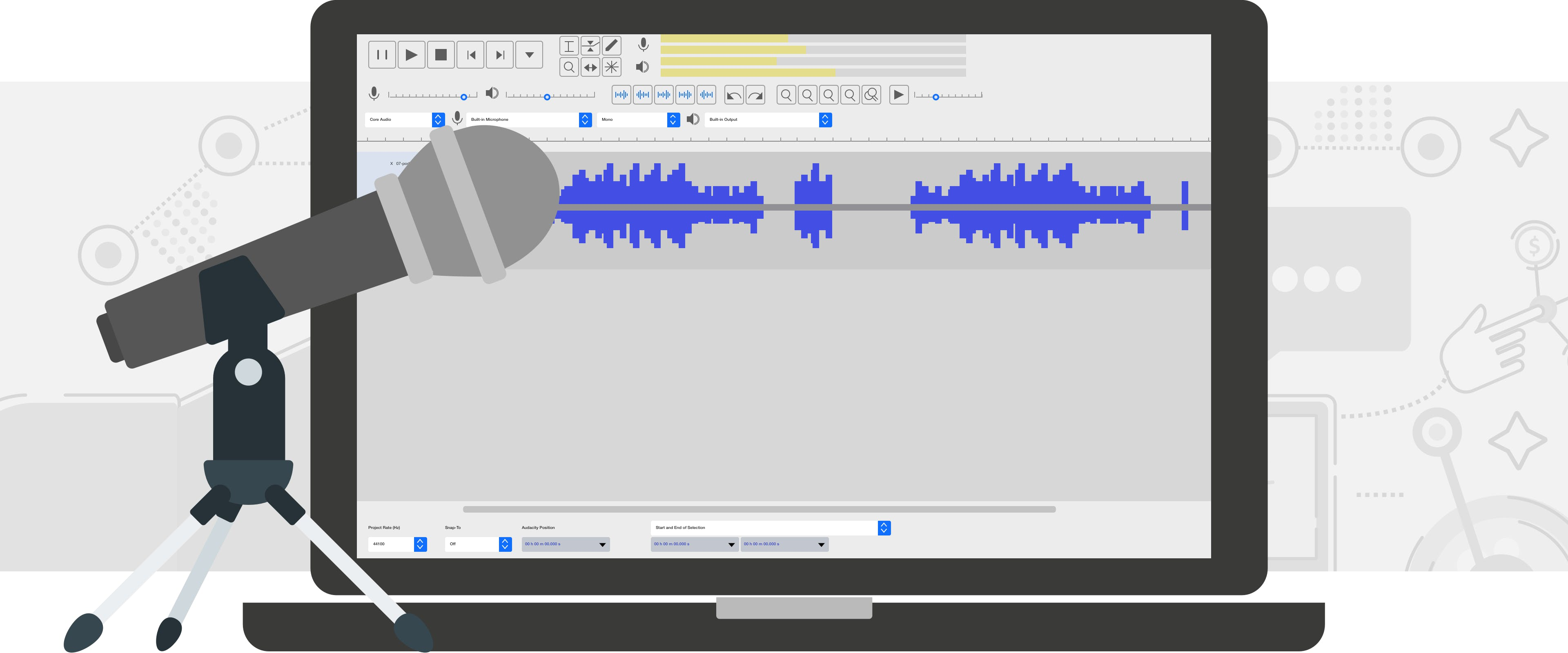 Microphone in front of a lap top with a waveform on the screen
