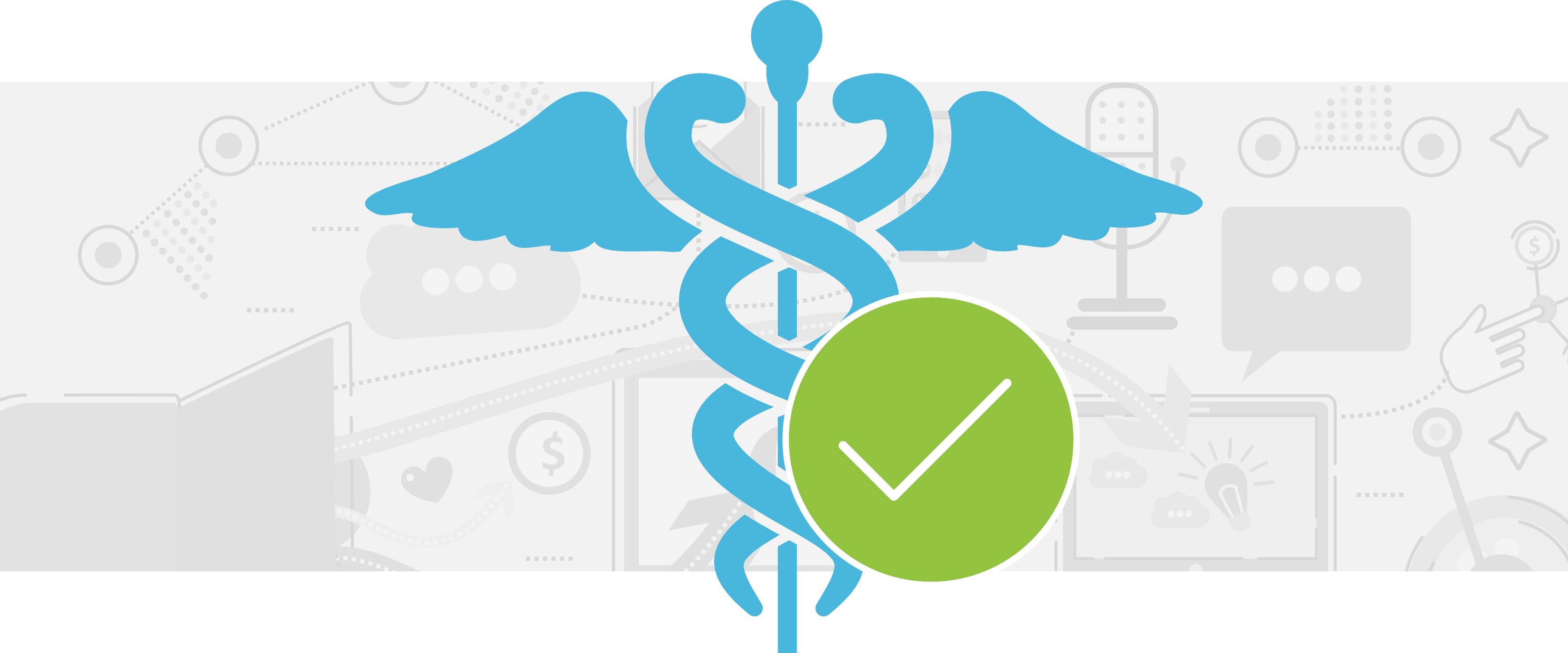 Blue HIPPA compliance icon with a green check mark beside it
