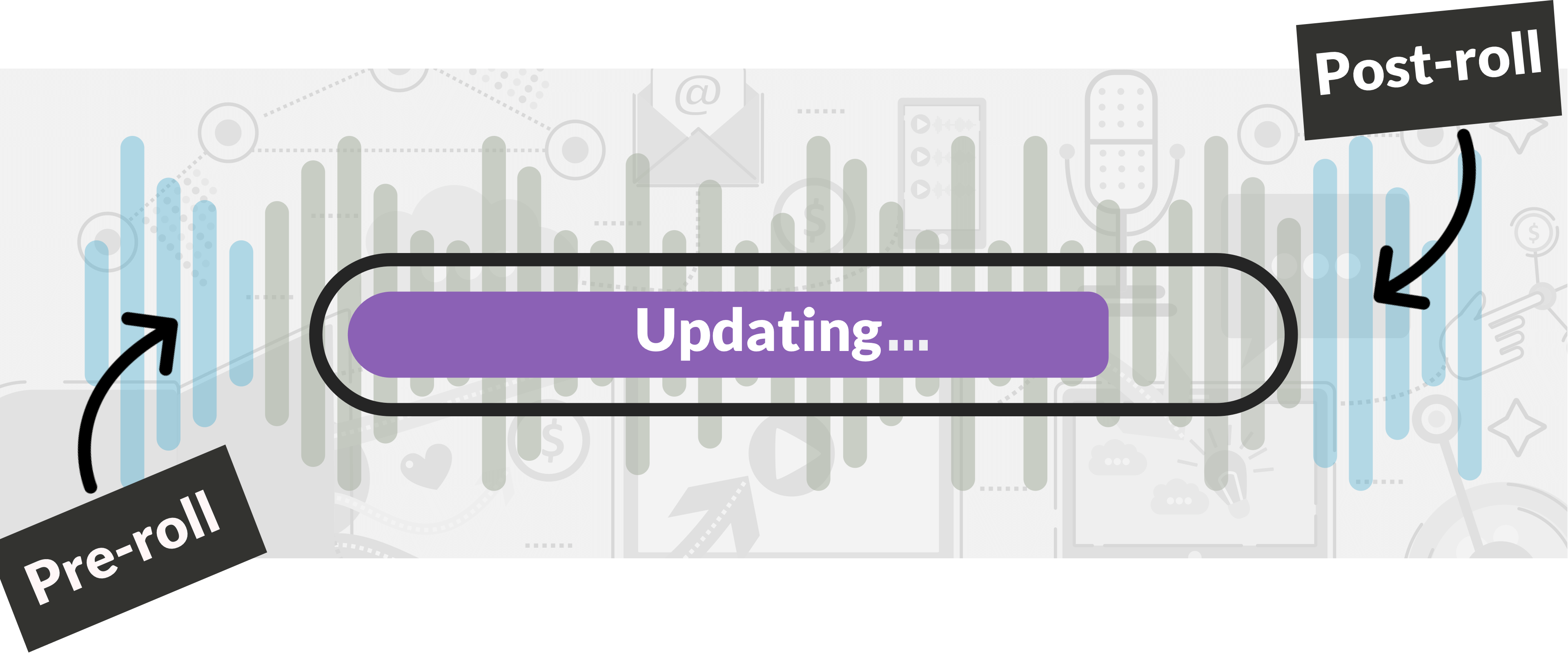 "Waveform with purple bar that says ""Updating"""