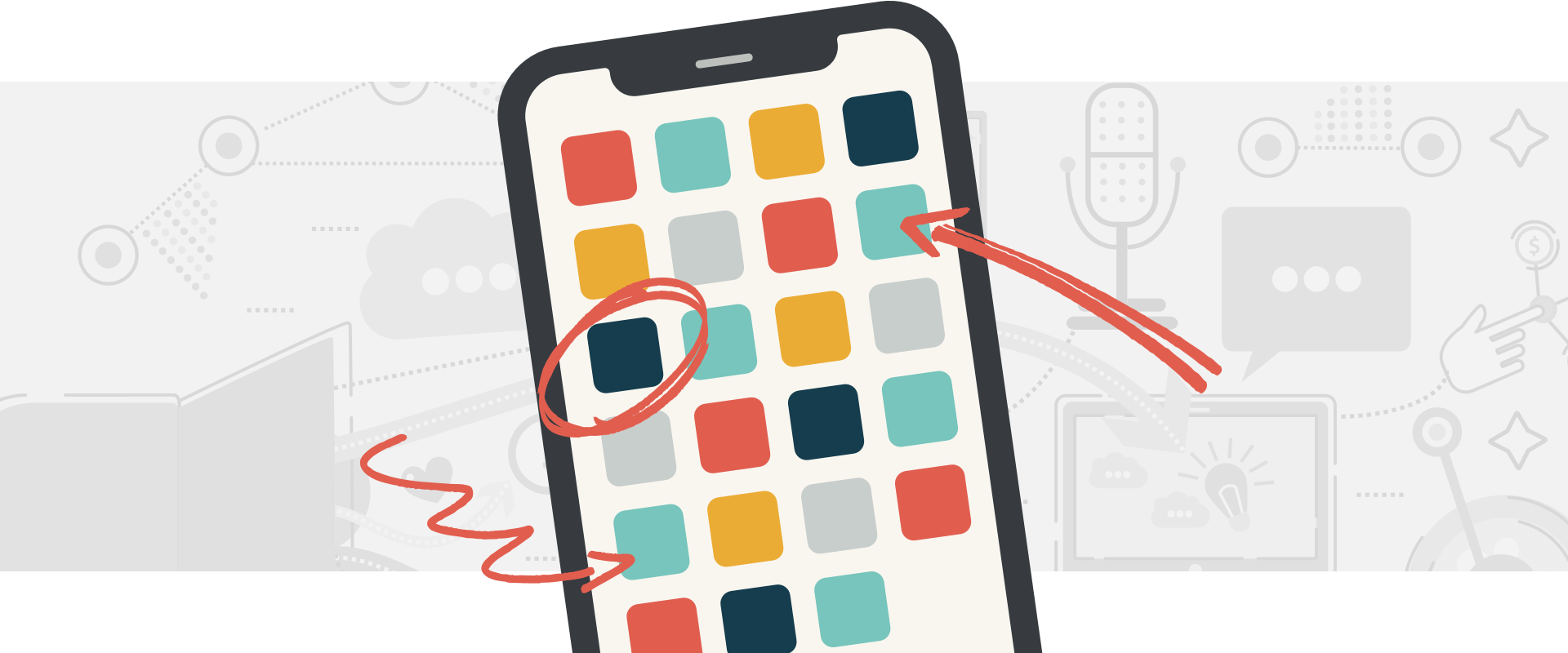 Smartphone with arrows pointing to various app icons