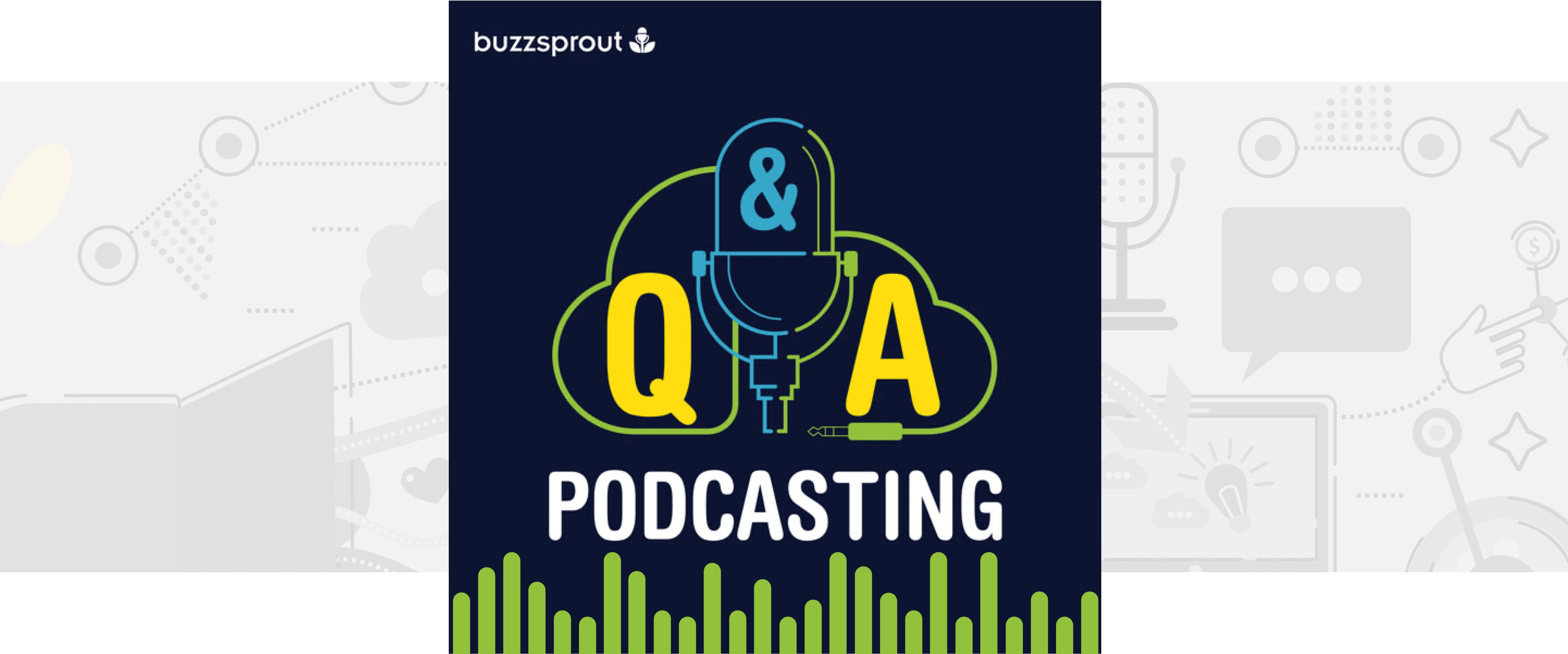 Podcasting Q&A podcast audiogram with green waveform