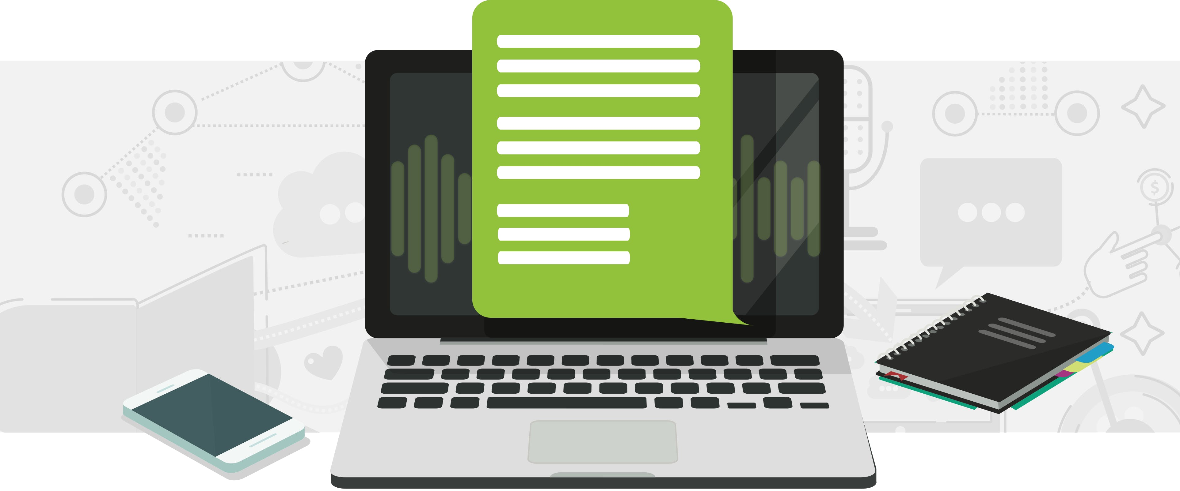 Laptop with a green podcast transcript and white lines
