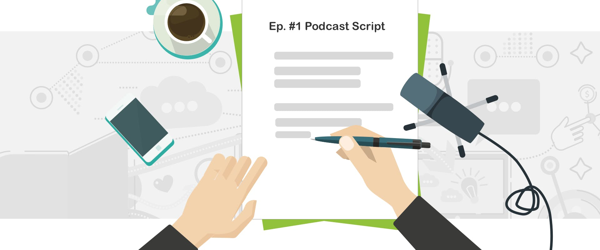 Hand writing a podcast script on a sheet of white paper