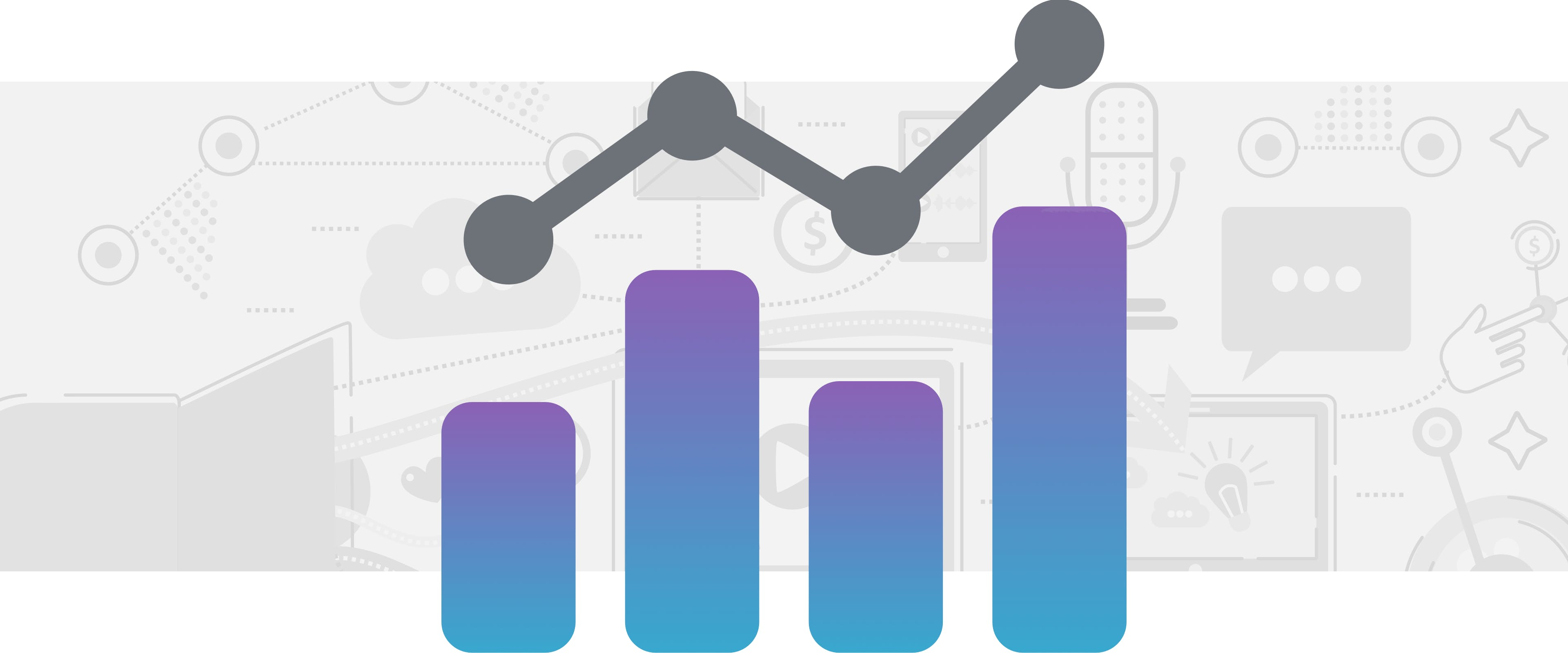 Purple and blue bar graph with grey line above