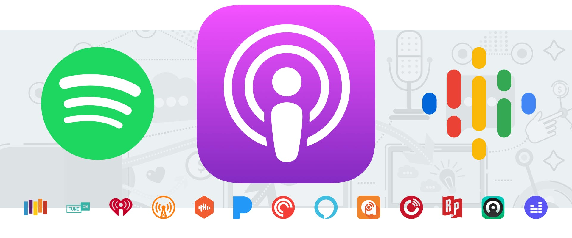 Podcast directory icons from Spotify, Apple, and Google Podcasts