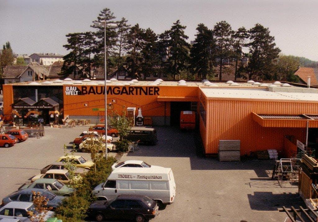Foto des Baumarktes der Bauwelt Baumgartner in Tulln im Jahr 1987