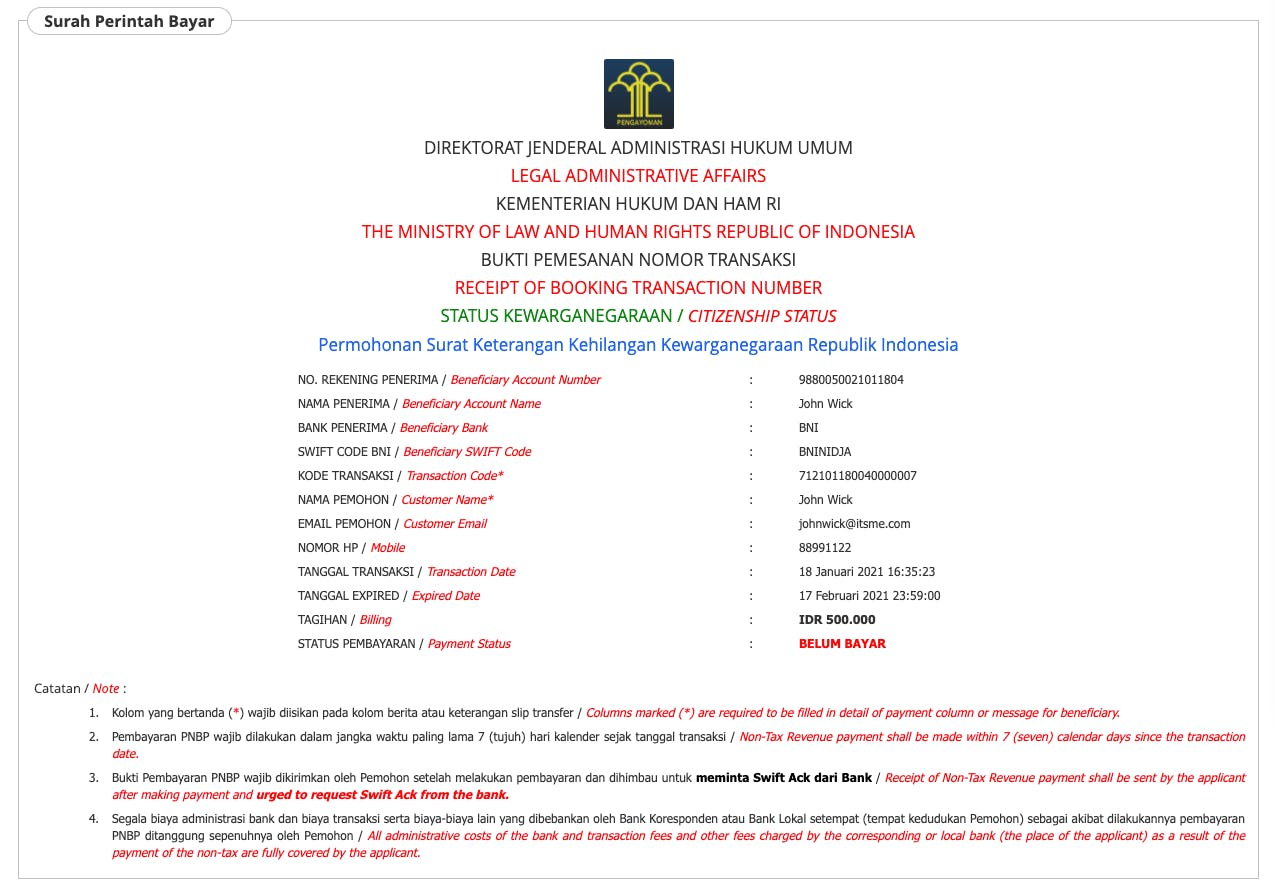 SAKE - Surat Perintah Bayar Sample