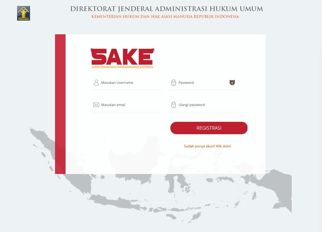 SAKE - Registrasi kewarganegaraan