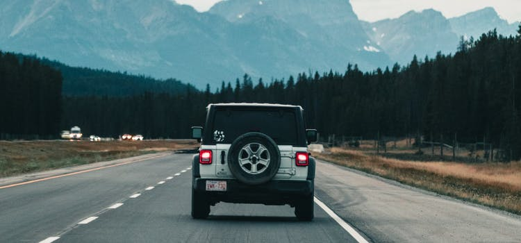 Jeep on the road