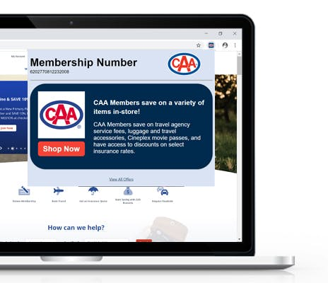 Image of CAA North & East Ontario website with CAA Rewards Assistant showing a message over it