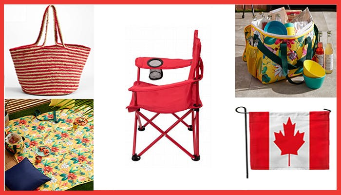 Collage of outdoor decor and home accessory Canada themed products