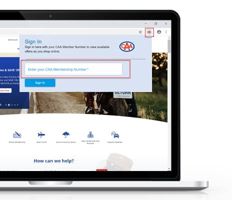Image of CAA North & East Ontario website with login screen for CAA Rewards Assistant showing