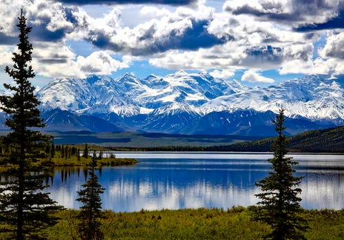 Mountains in the distance in Alaska, USA