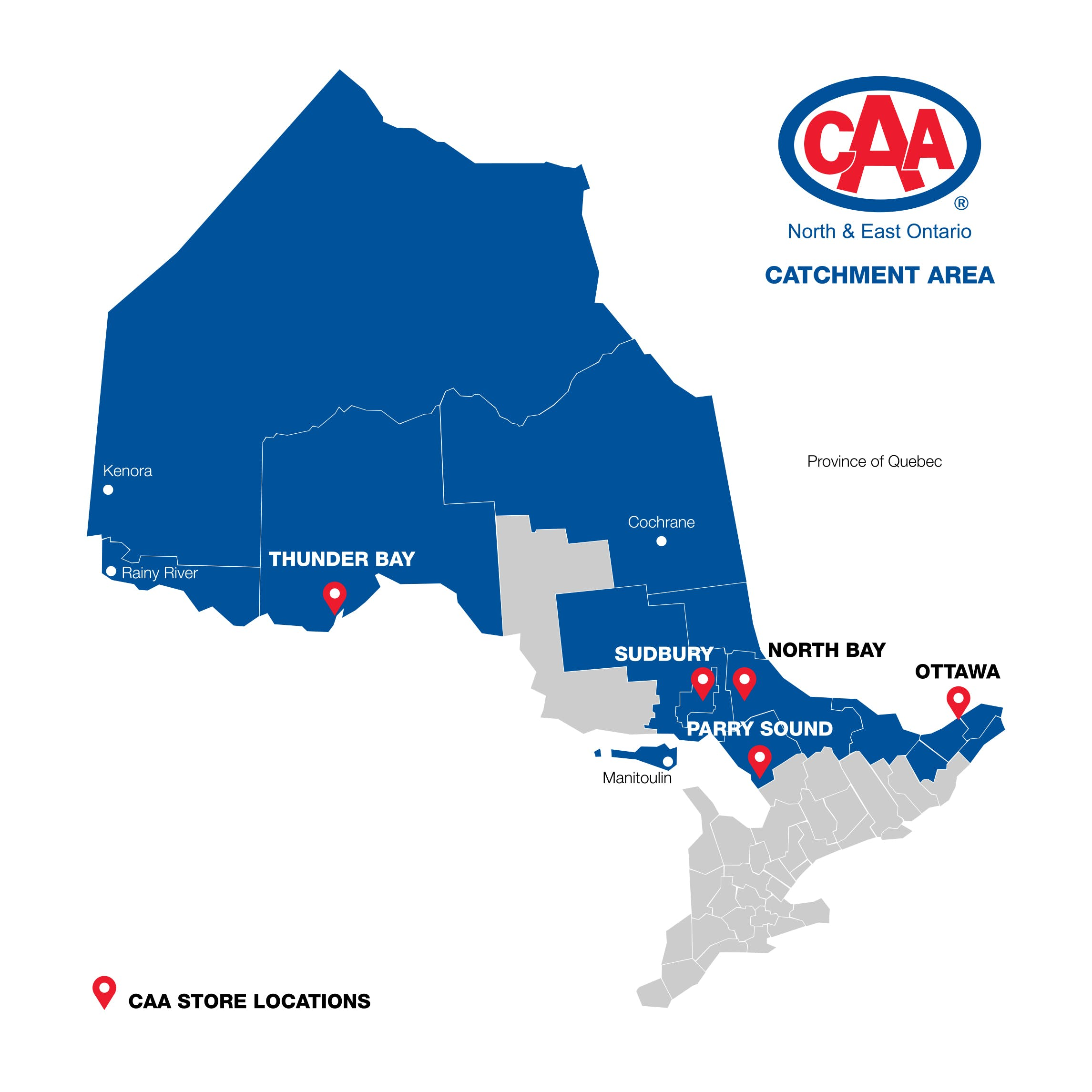 CAA North & East Ontario territory map