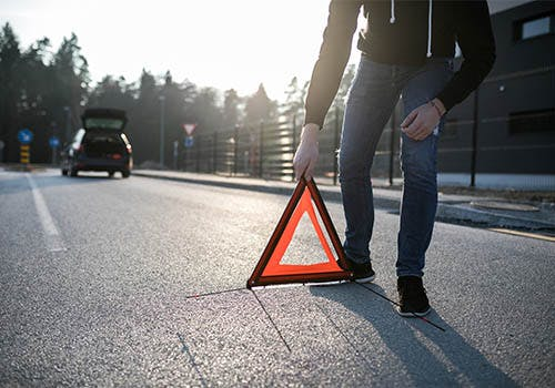 car accident safety cone hazard