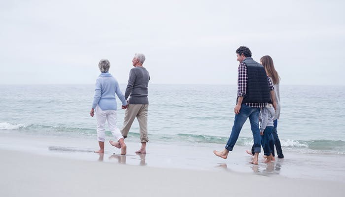 Multi generational family walking on the beach