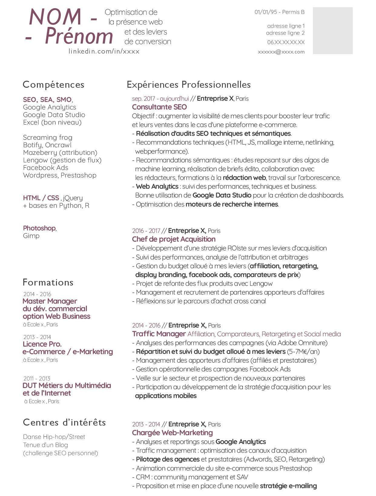 Idée de CV moderne