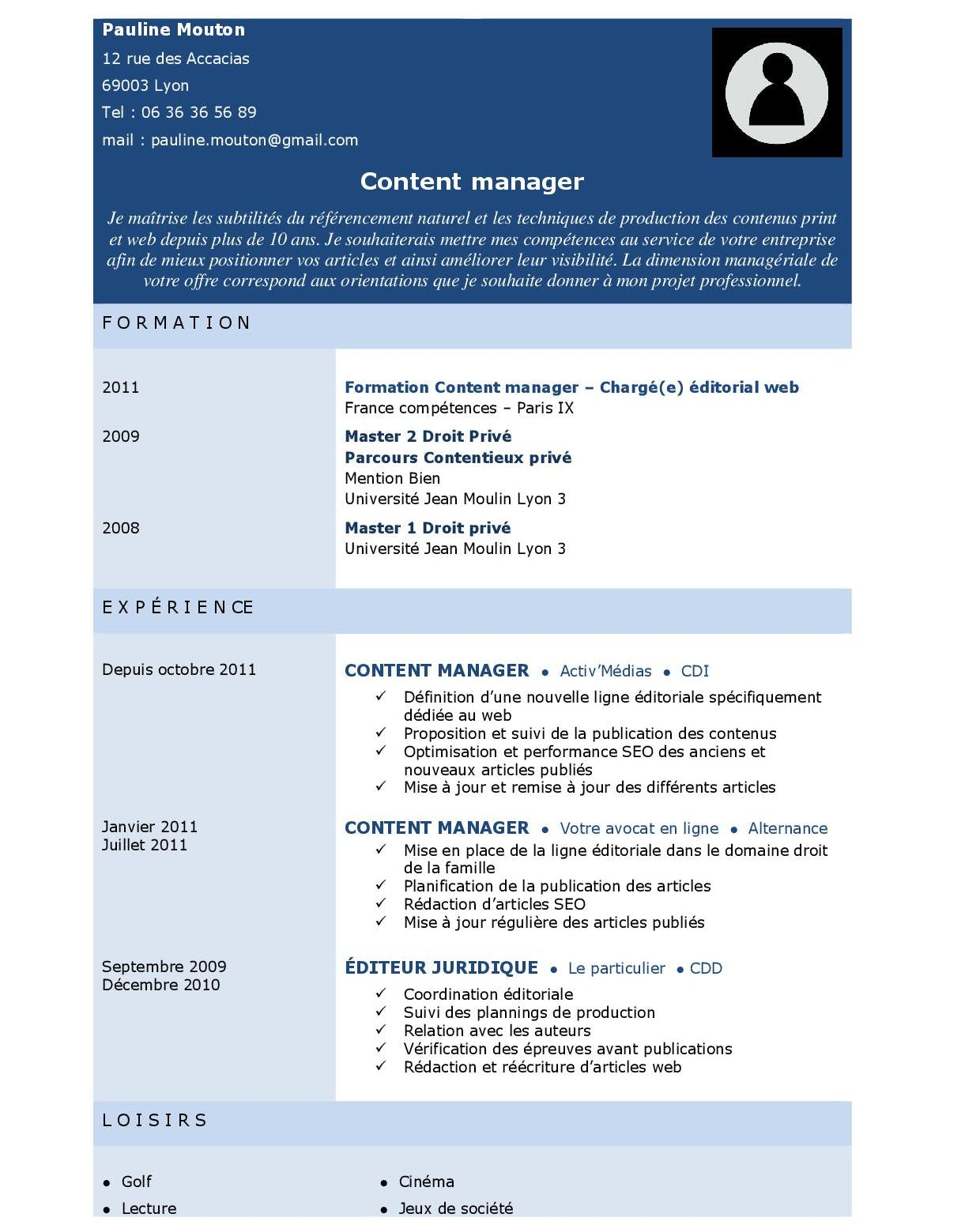 Mise en page CV : nuances de bleu