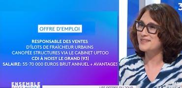 Vu sur France 3 Ile-de-France : le métier d'agriculteur urbain et une histoire d'offre d'emploi qui rafraichit les villes