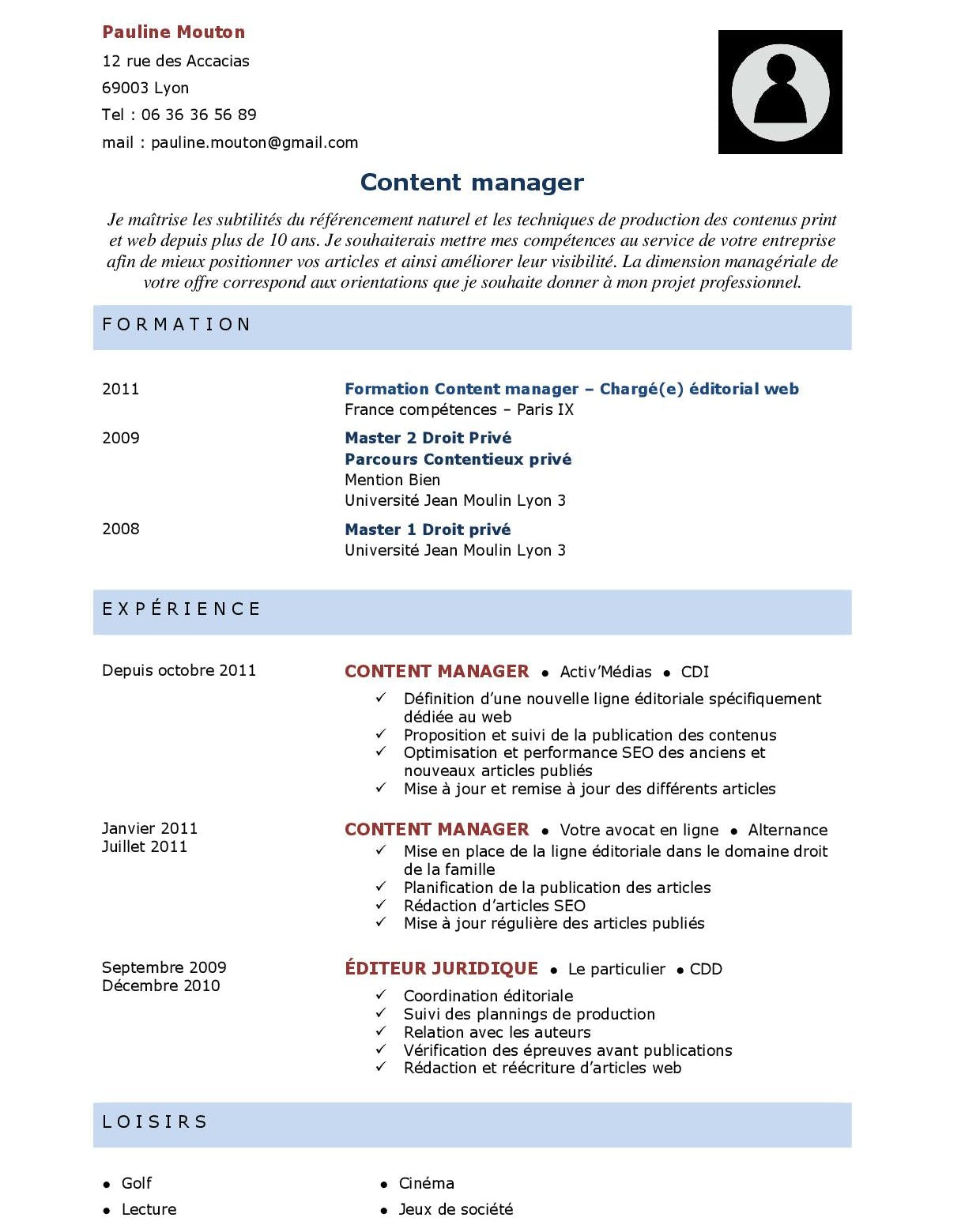 Mise en page CV avec titres des rubriques en majuscules
