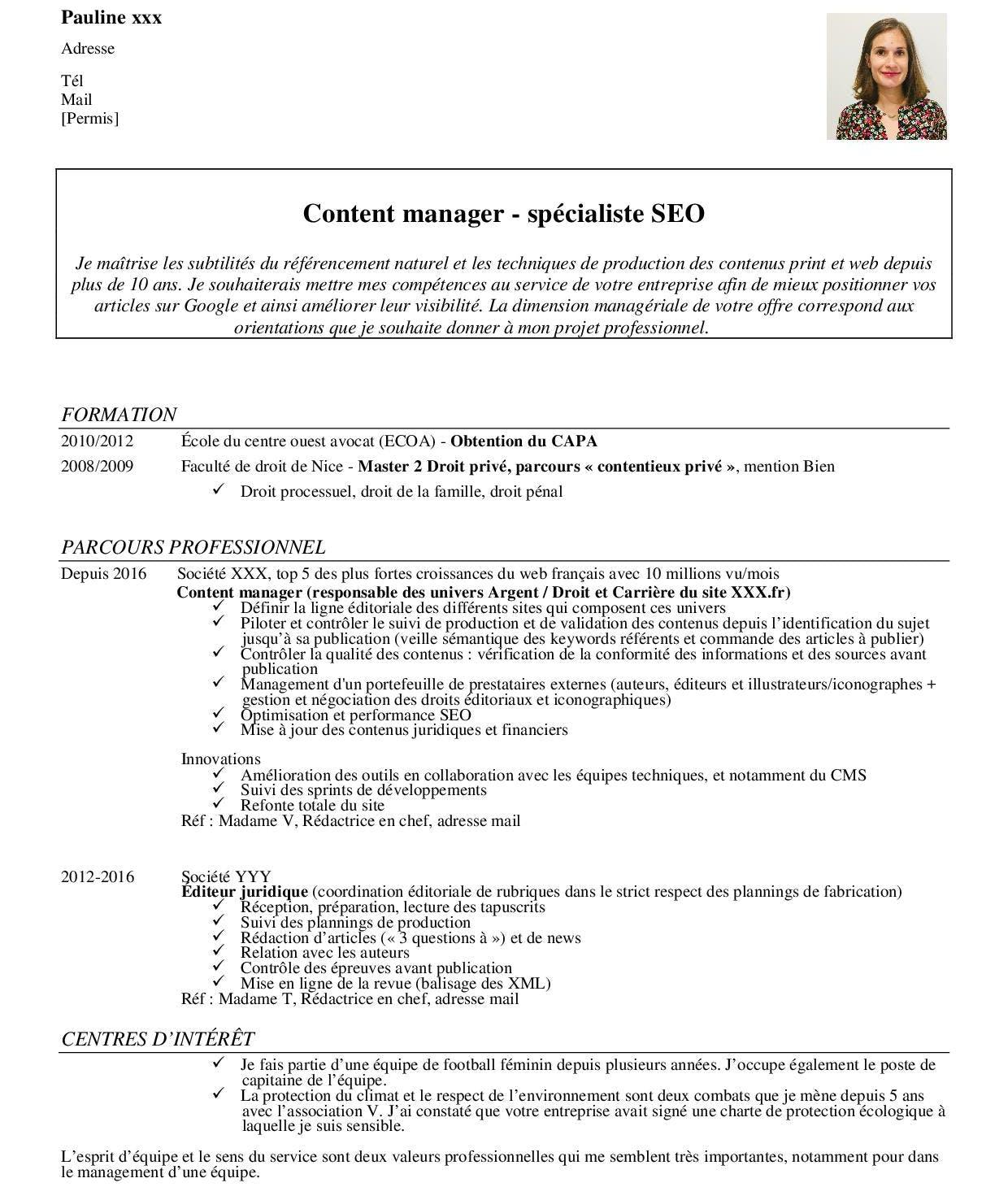 Exemple d'un bon CV avec photo