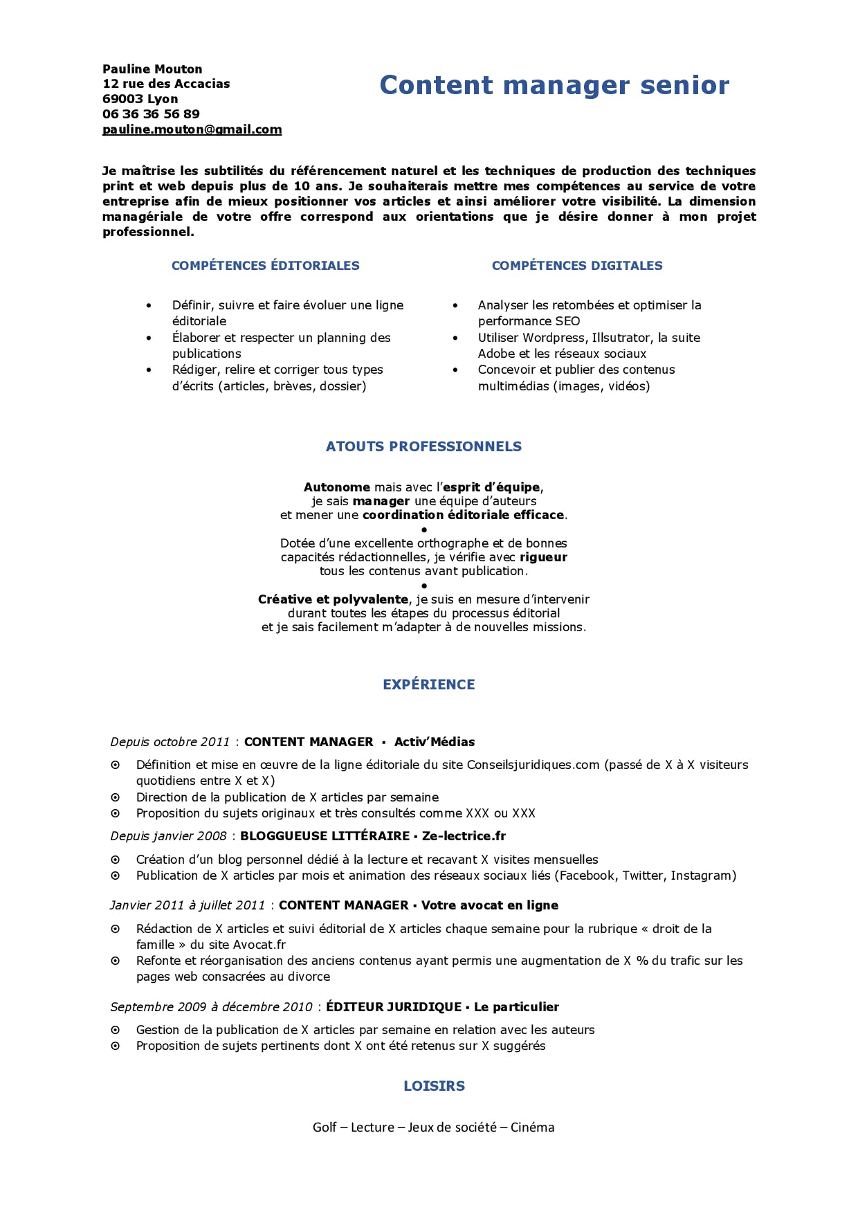 Exemple de bon CV par compétences