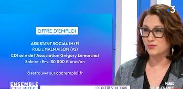 Vu sur France 3 Ile-de-France : le métier de conseiller pénitentiaire d'insertion et une offre d'emploi très spéciale pour un profil social