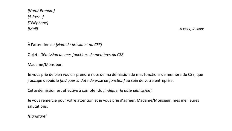 Modèle de lettre de démission d'un mandat de membre du CSE