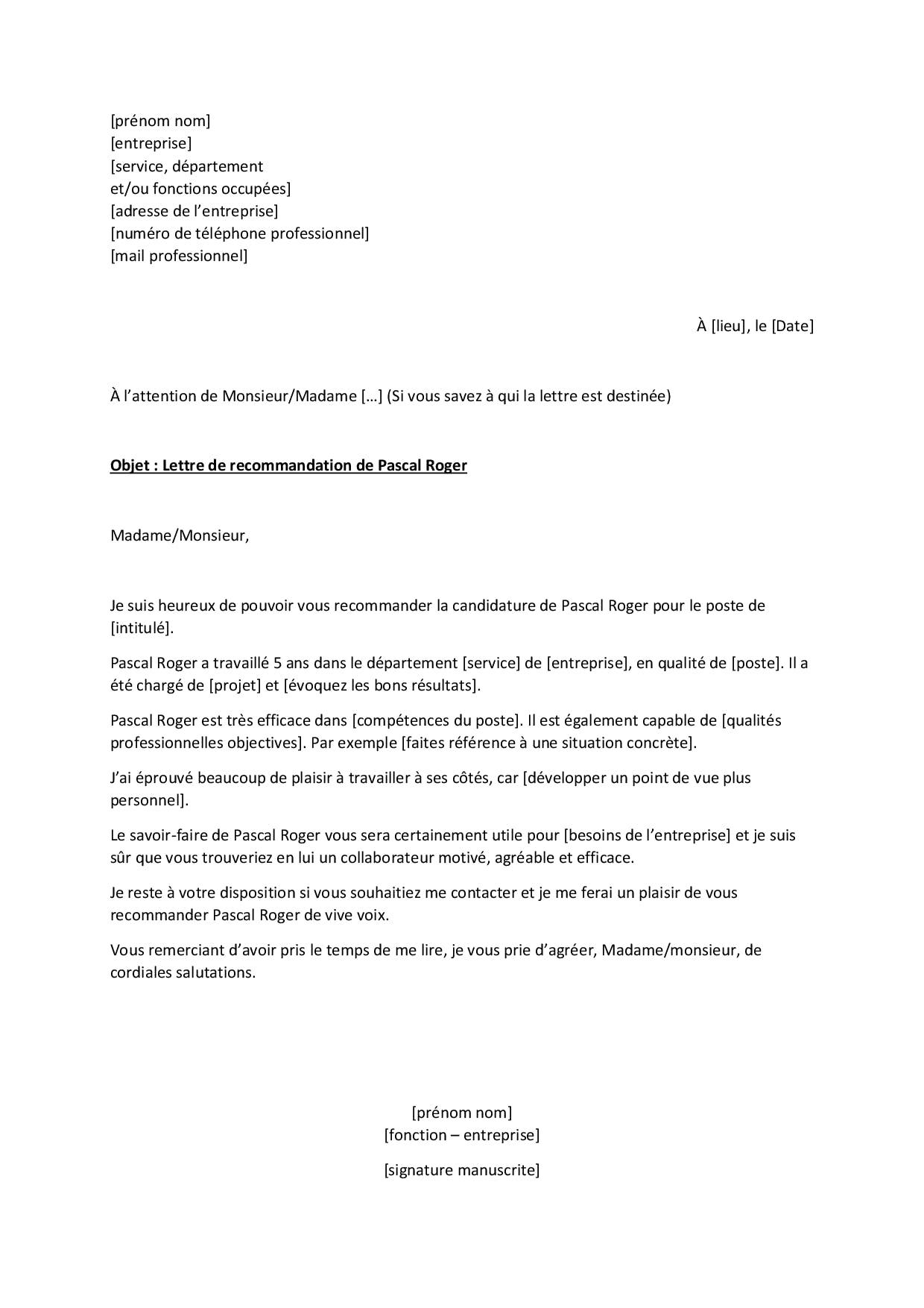 Exemple de lettre de recommandation pour un ancien collègue ou un ancien salarié